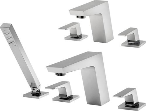 Additional image for 3 Hole Basin & 4 Hole Bath Shower Mixer Tap Set (Chrome).