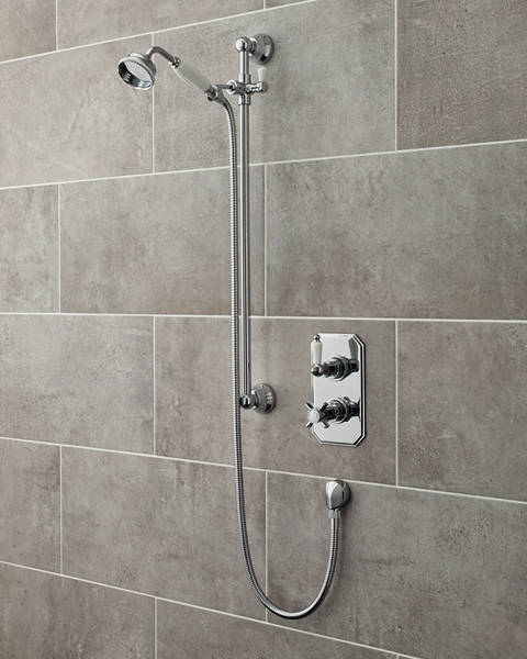 Additional image for Traditional Thermostatic Shower Valve With Slide Rail Kit (Chrome).