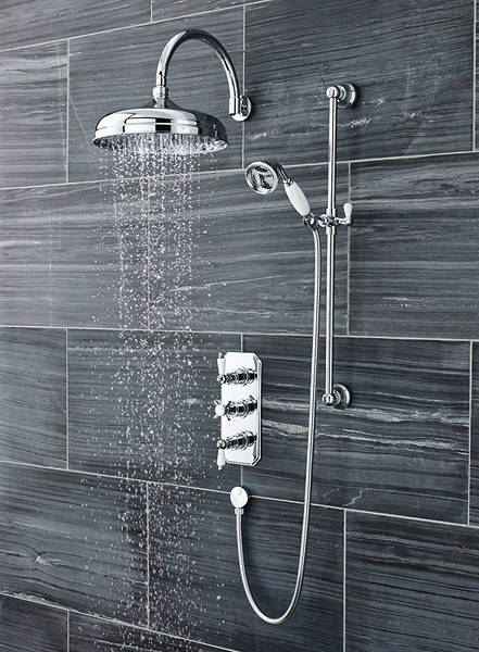 Additional image for Traditional Triple Thermostatic Shower Valve, Head & Slide Rail Kit.