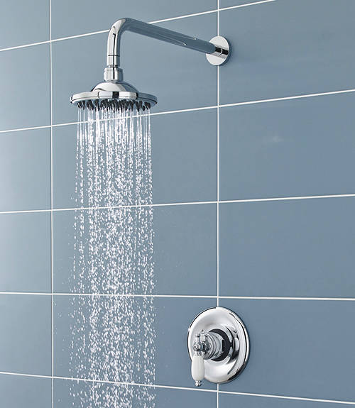 Additional image for Sequential Thermostatic Shower Valve With Head & Arm (Chrome).