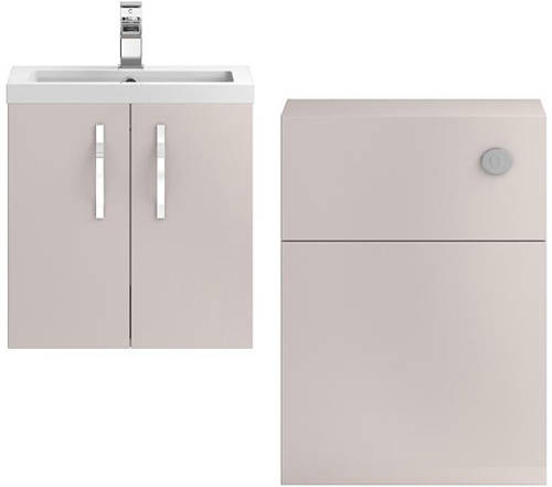 Additional image for Wall Vanity 500mm, Basin & WC Unit 600mm (Cashmere).