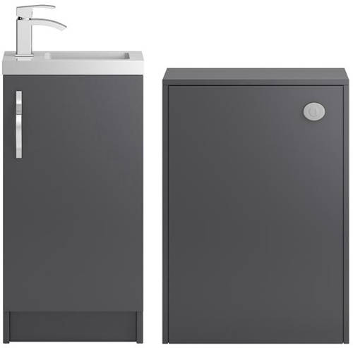 Additional image for Vanity Unit 400mm, Basin & WC Unit 600mm (Grey).