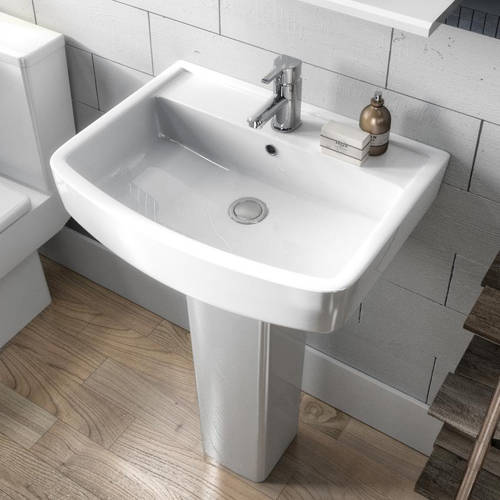 Additional image for Back To Wall Toilet Pan With Seat, 520mm Basin & Pedestal.