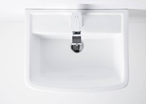 Additional image for Back To Wall Toilet Pan With Seat, 600mm Basin & Pedestal.