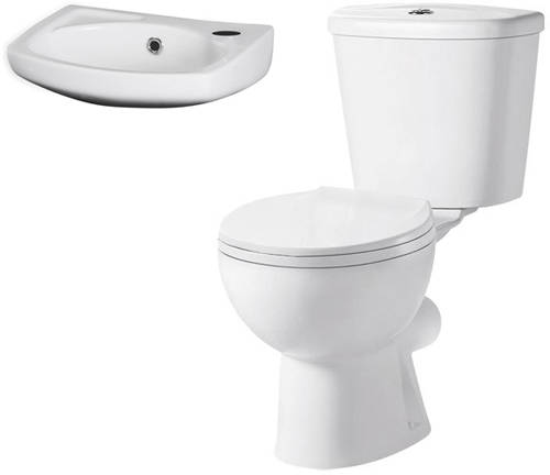 Additional image for Toilet & 350mm Wall Hung Basin Pack.