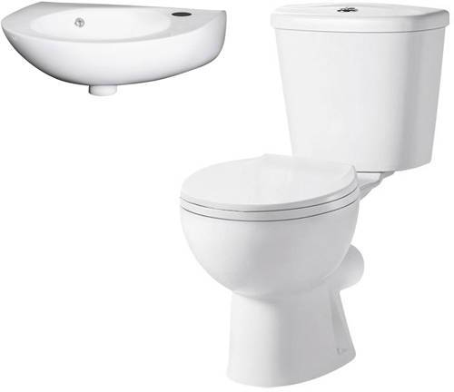 Additional image for Toilet & 350mm Curved Fronted Wall Hung Basin Pack.