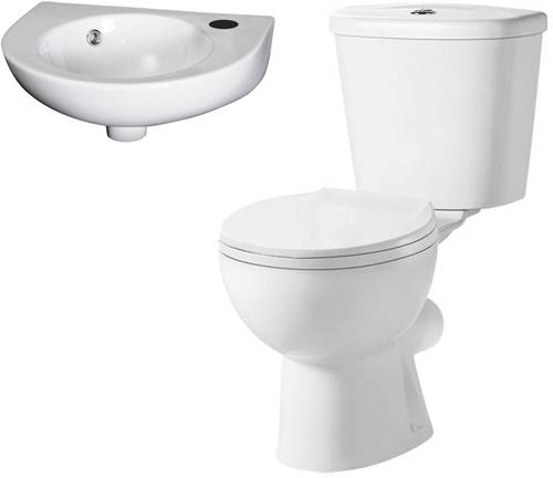 Additional image for Toilet & 450mm Curved Fronted Wall Hung Basin Pack.