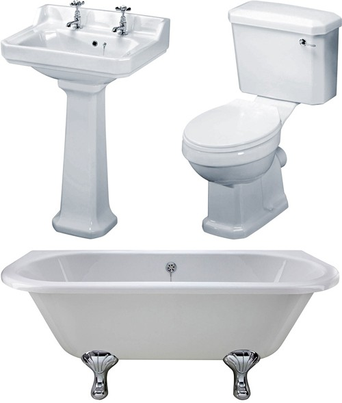 Additional image for BTW 1700mm Double Ended Bath With Toilet & Basin.
