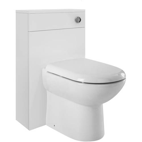 Additional image for Back To Wall Unit With Pan, Cistern & Seat (White). 500x768mm.