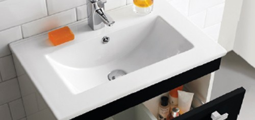 Additional image for Wall Hung Vanity Unit With Option 1 Basin (Black). 794x399mm.