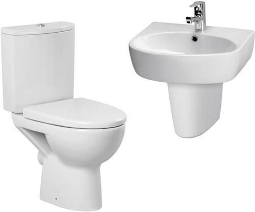 Additional image for Bathroom Suite With Toilet, 500mm Basin & Semi Ped (1TH).