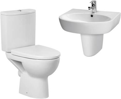 Additional image for Bathroom Suite With Toilet, 600mm Basin & Semi Ped (1TH).