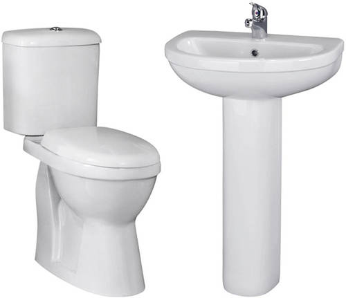 Additional image for Suite With Toilet, 550mm Basin & Full Pedestal (1TH).