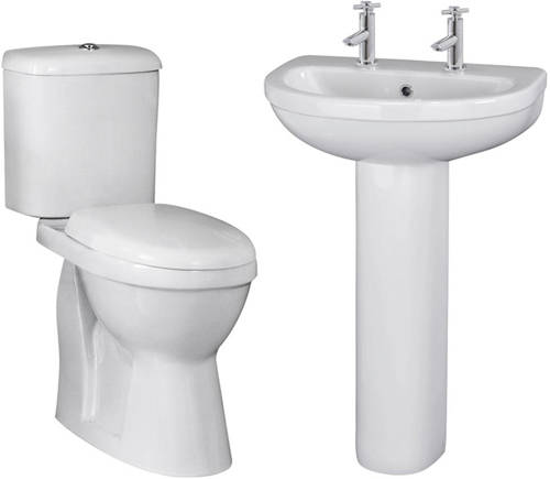 Additional image for Suite With Toilet, 550mm Basin & Full Pedestal (2TH).