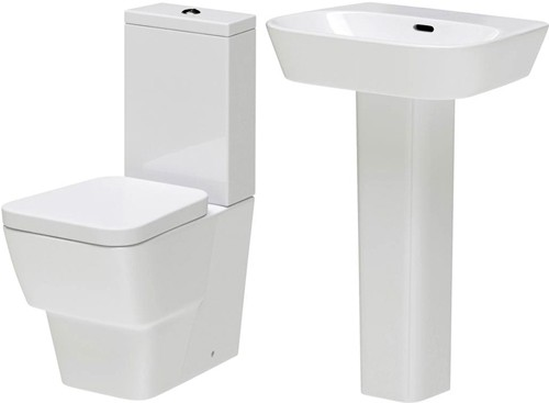 Additional image for Flush To Wall Toilet With Seat, Basin & Full Pedestal.