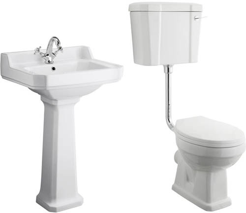 Additional image for Low level Toilet With 560mm Basin & Pedestal (1TH).