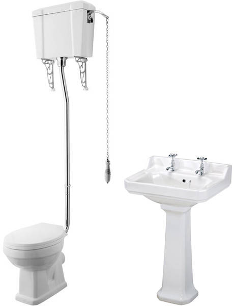 Additional image for High level Toilet With 600mm Basin & Pedestal (2TH).