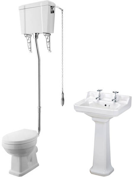 Additional image for High level Toilet With 500mm Basin & Pedestal (2TH).