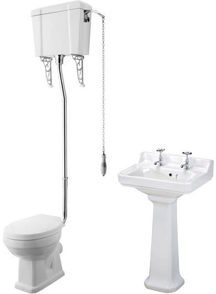 Additional image for High level Toilet With 560mm Basin & Pedestal (2TH).