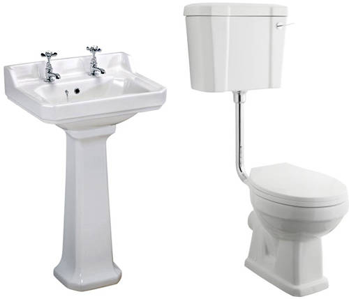 Additional image for Low level Toilet With 500mm Basin & Pedestal (2TH).