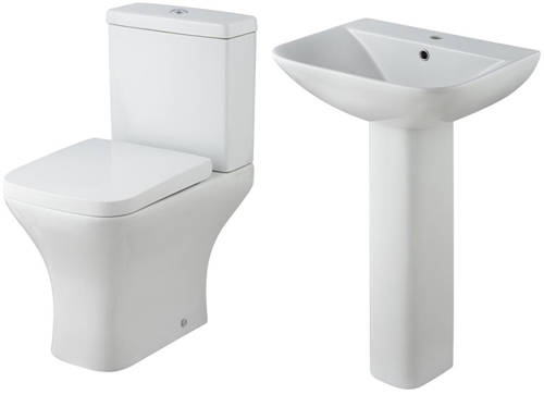 Additional image for Semi Flush Toilet With 550mm Basin & Full Pedestal.