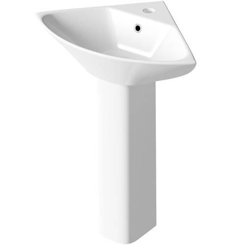 Additional image for Semi Flush Toilet With Corner Basin & Full Pedestal.