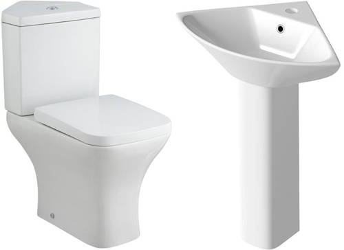 Additional image for Corner Toilet With Corner Basin & Full Pedestal.
