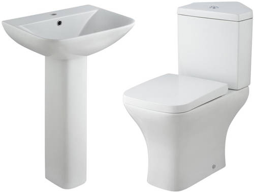Additional image for Corner Toilet With Basin & Full Pedestal.