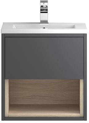 Additional image for 500mm Wall Hung Vanity With 600mm WC Unit & Basin 2 (Grey).