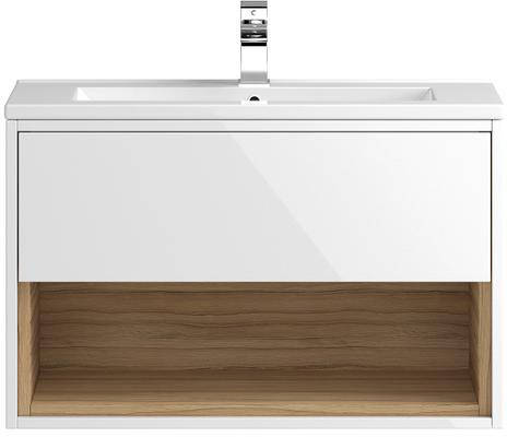 Additional image for 800mm Wall Hung Vanity With 600mm WC Unit & Basin 2 (White).