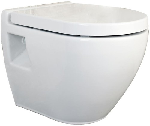 Additional image for Round Wall Hung Toilet Pan & Soft Close Seat.