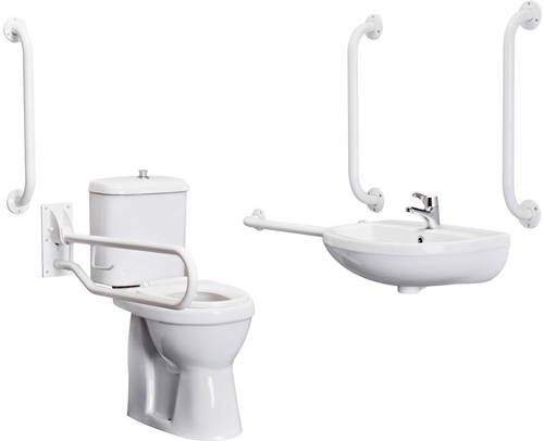 Additional image for Complete DocM Pack With Toilet, Basin, Tap & White Rails.