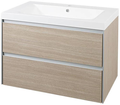 Additional image for Wall Mounted Vanity Unit With Basin (Light Oak).