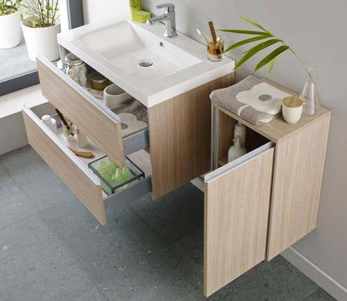 Additional image for Wall Mounted Vanity Pack With Basin (Light Oak).