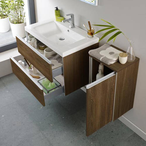 Additional image for Wall Mounted Vanity Pack With Basin (Textured Oak).