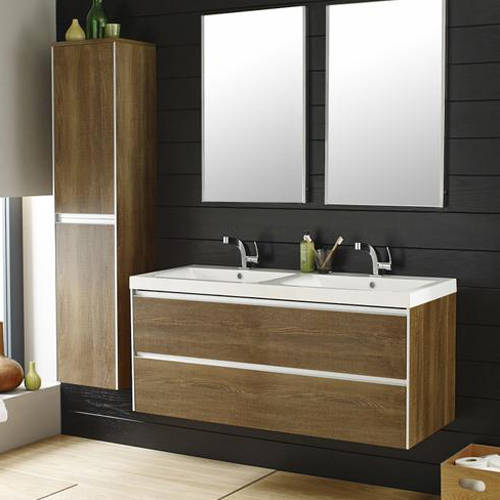 Additional image for Wall Mounted Vanity Pack & Double Basin (Text Oak).