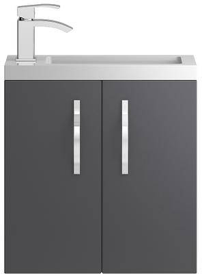 Additional image for Wall Hung Vanity Unit & Basin (500mm, Grey).