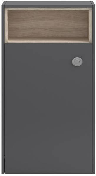 Additional image for Floor Standing 600mm BTW WC Unit With Open Shelf (Grey Gloss).