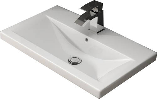 Additional image for Wall Hung 800mm Vanity Unit & Basin Type 1 (Grey Gloss).