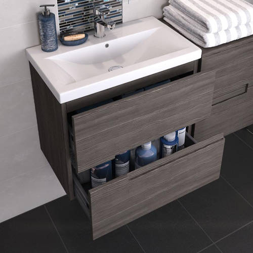 Additional image for Wall Hung 800mm Vanity Unit & Basin Type 1 (Grey Avola).