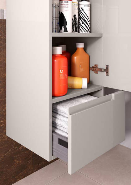 Additional image for Wall Hung Tall Storage Unit With Drawer and Shelves (Cashmere).
