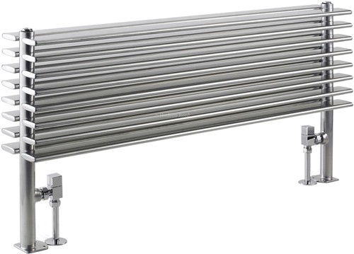 Additional image for Fin Floor Mounted Radiator (Silver). 1000x504mm.