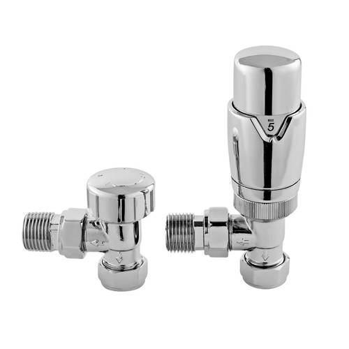 Additional image for Luxury Angled Thermostatic Radiator Valves Pack (Pair).