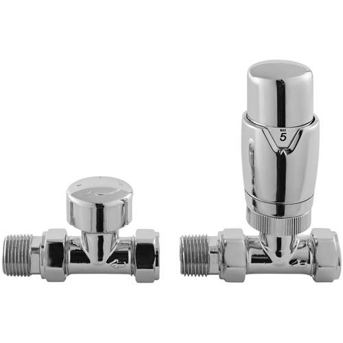Additional image for Luxury Straight Thermostatic Radiator Valves Pack (Pair).