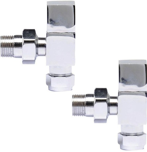 Additional image for Pure Square Radiator Valves Pack Angled (Pair).