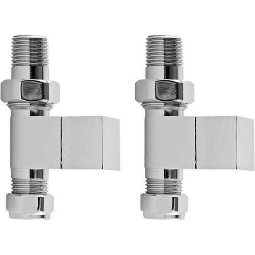 Additional image for Pure Straight Square Radiator Valve Pack (Pair, Chrome).