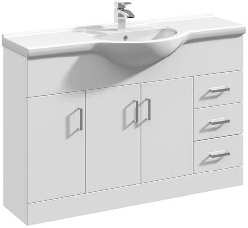 Additional image for 1200mm Vanity Unit With Basin Type 1 & 500mm WC Unit (White)
