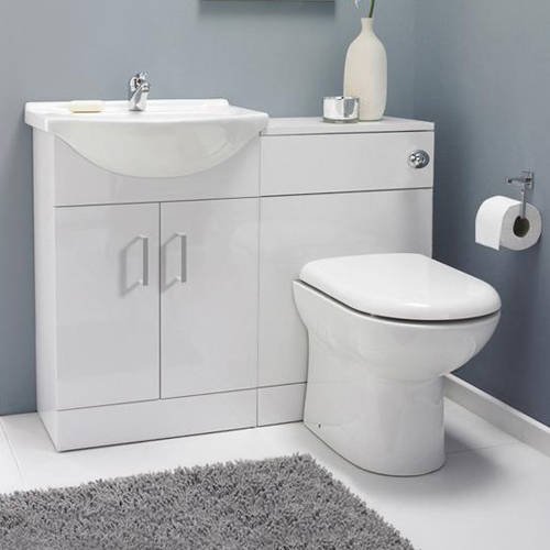 Additional image for Vanity Pack With Pan & Curved Basin 1050mm (LH, White).