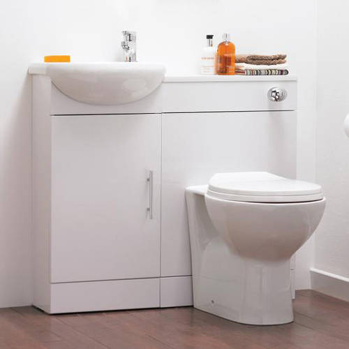Additional image for Vanity Pack With Pan, Cistern, Tap & Basin 920mm (LH, White).