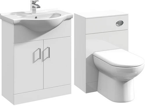Additional image for 650mm Vanity Unit With Basin Type 1 & 500mm WC Unit (White).